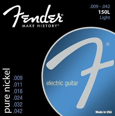 Fender 150L Pure Nickel Electric Guitar Strings light gauge Ball End gauges 9-42