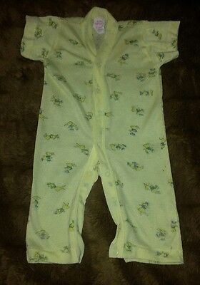 VTG Dr. Denton's 12 Mon. Baby One Piece Yellow Bunny Lightweight Unisex Short Sl