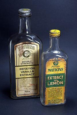 Vintage J. R. Watkins Embossed Glass Bottles, with Metal Screw Caps