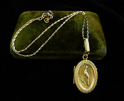 Antique 1880's VICTORIAN Era GOLD Tone Repousse BIRD LOCKET NECKLACE