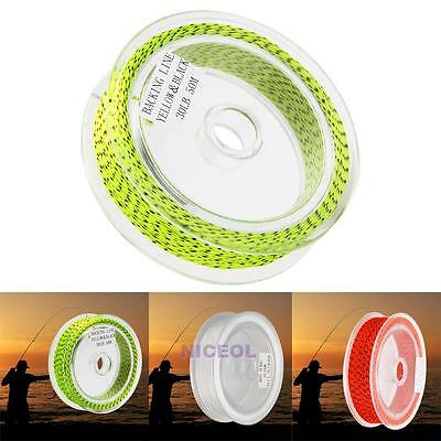 1PC 50M Fly Line Yellow/Red/White Color Trout 20LB/30LB Braided Fly Backing Line