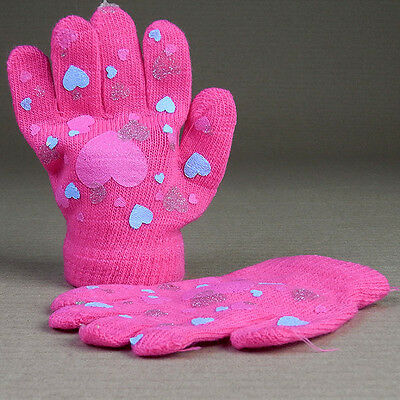 Knitted Gloves Stretchy Hot Bright Pink Hearts Girls Children Kids 3 yrs and up