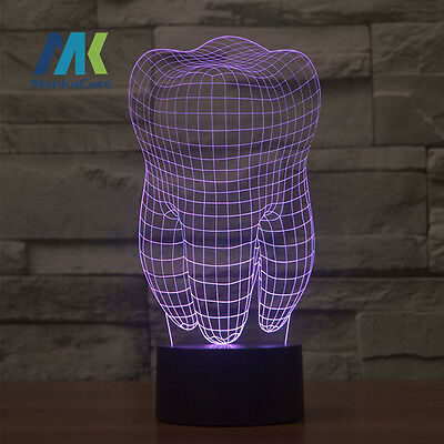 Teeth Shap 3D Led Lamp Dental Creative gift Colorful 3D Tooth gradient light