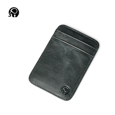 Men Genuine Leather Wallet Mini Slim ID Credit Card Protector Holder Purse