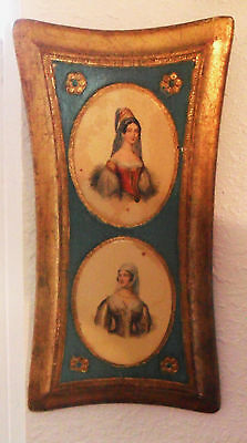 Vintage Hand Made In Italy Florentine Wood PLAQUE Toleware Decorative Art EMPIRE