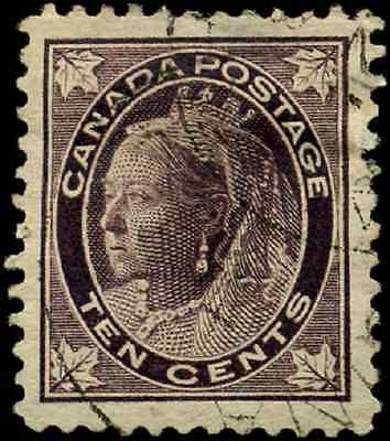 Canada #73 used XF 1897 Queen Victoria 10c brown violet Maple Leaf  CV $150.00