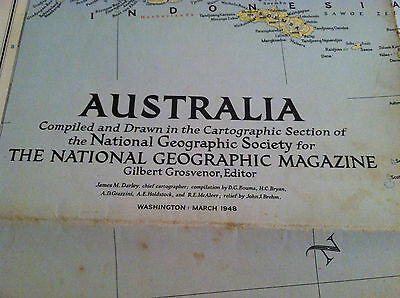 National Geographic Map of Australia March 1948