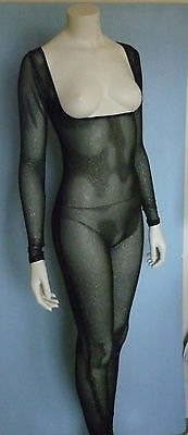 All Black Glitter Body Stocking, Legs Sleeves, for Belly Dance, Costumes, Large