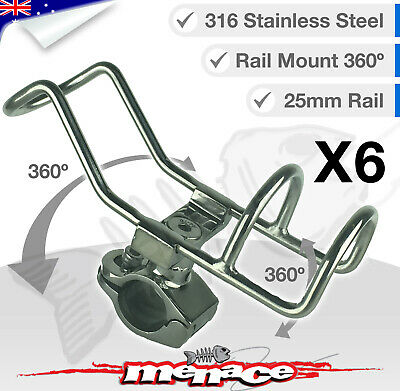 6x 316 Stainless Steel Rail Mount Rod Holder Double Wire Fishing Boat Kayak 25mm