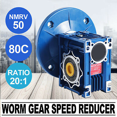 NMRV050 Worm Gear Ratio 20:1 80C Speed Reducer Gearbox HQ Heat Sinking Design
