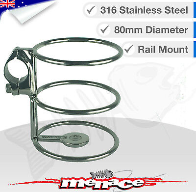 316 Stainless Steel Rail Mount Drink Cup Holder Clamp Fishing/Boat/Kayak
