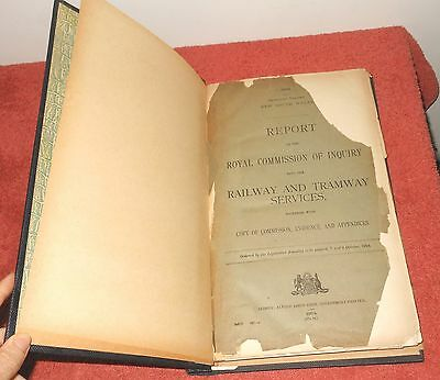 Antique Book 1924 Nsw Royal Commission Report Into Railway & Tramway Services