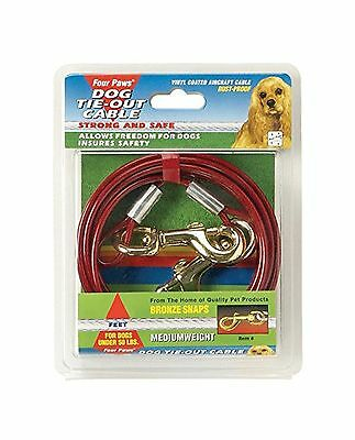 Four Paws Medium Weight Tie Out Cable for Dogs Red 20-Feet