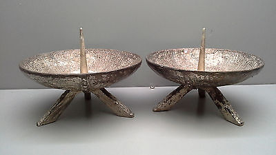 A pair of metal Art Deco Church ALTAR CANDLE HOLDERS candlesticks Christian