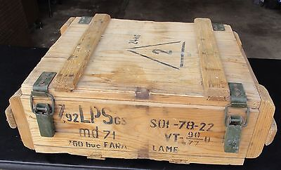 Foreign Military (Romanian?) Wood Ammo Crate Ammunition Weapon Box Fara Lame LPS