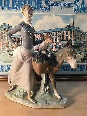 Beautiful Large Spanish Lladro Donkey with Mother & Child Figurine 4666 35cm