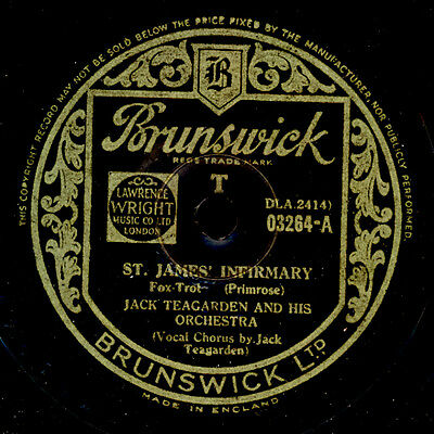 JACK TEAGARDEN & ORCHESTRA St. James Infirmary / Black and Blue    78rpm  X3346