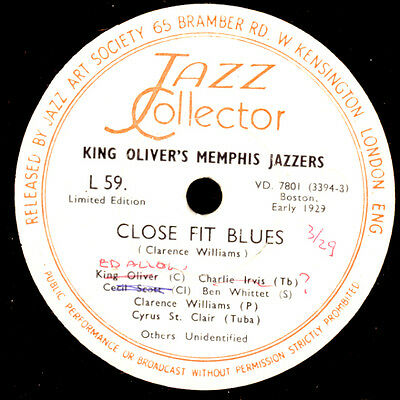 KING OLIVER'S MEMPHIS JAZZERS Close Fit Blues / In Harlem's Araby 78rpm X2866