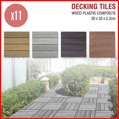 11x Decking Tiles DIY Outdoor Garden Wooden Plastic Composite Timber Flooring