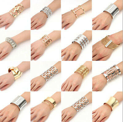 Lots Styles Women Men Punk Cuff Bangle Charm Bracelet Silver Gold Jewelry Gift