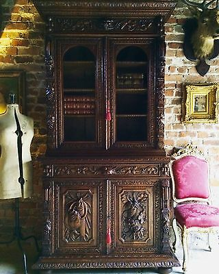 Stunning Antique French Dresser Bookcase Oak 19th Century Victorian Carved