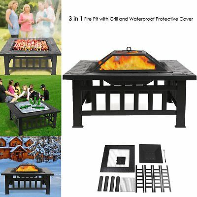 3 IN 1  New Fire Pit Heater Outdoor Garden BBQ Grill Brazier Summer Ice Bucket