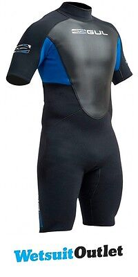 2017 Gul Response 3/2mm Mens Shorty Wetsuit in Black / Blue RE3319-A9