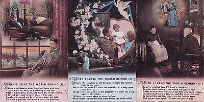 """WWI-""""When I leave the world behind"""" Set of three Bamforth """"SONG"""" cards"""