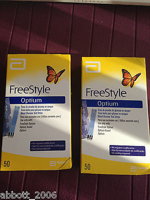 Freestyle Optium Blood Glucose 100 Test Strips No Coding Brand New 2 boxes X 50