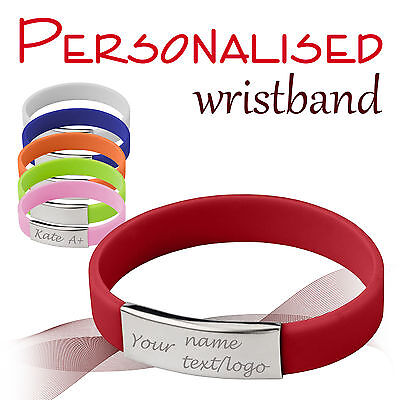 Personalised Metal/Silicone Wristbands * Name * Text * Logo * Blood * Event *
