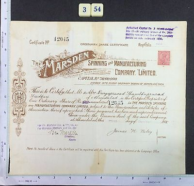 India 1921 SHARE CERTIFICATE of Marsden Spinning Manufacturing #354