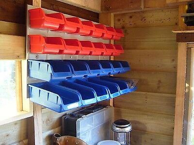 Garage Storage Bins Rack 24 Large Wall Plastic Tools Box Organiser Workshop Unit