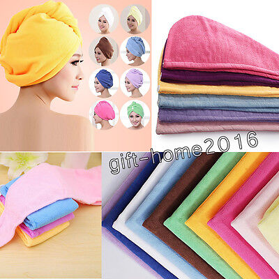 3 X Long Hair Wrap Head Towel Turbie Turban Twist Drying Cap Hat Loop Button UK