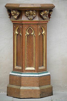 SALE !! Nice Neo Gothic Church Wall Pedestal /Stand/ table / console in wood
