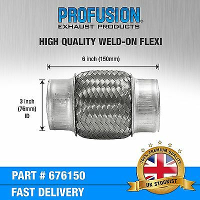 """Weld On 3"""" X 6"""" inch Exhaust Flexible Joint Repair Flexi Pipe tube Flex"""