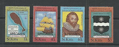 ST KITTS 1985  400th Anniversary of Francis Drakes Visit  Overprinted Specimen