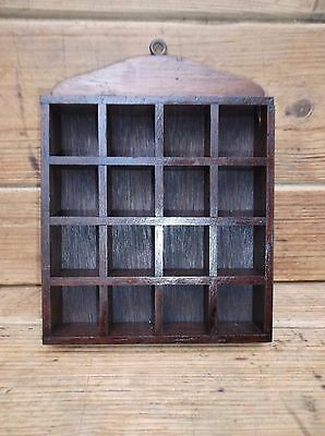 Vintage Wooden Thimble Display Shelf Holds 16 Thimbles - Wall Hanging # 1