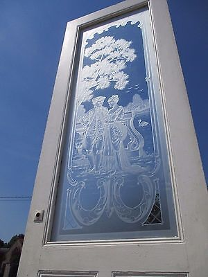 Antique Reclaimed French Etched Glass Panel Doors Victorian Architectural