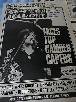 """FACES """"whats on"""" 3 pages on the CAMDEN ROCK FESTIVAL OF 1972 AS PICTURED"""