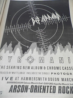 "Def Leppard ""pyromania"" Album & Gig Advert  From 1983 Full Page A3"