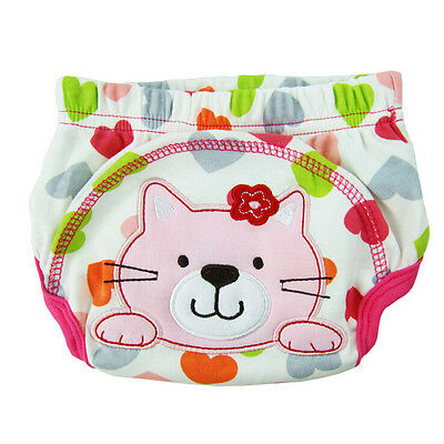 5x(Layer learning panties of washable cotton waterproof cat pattern for ba R6P0
