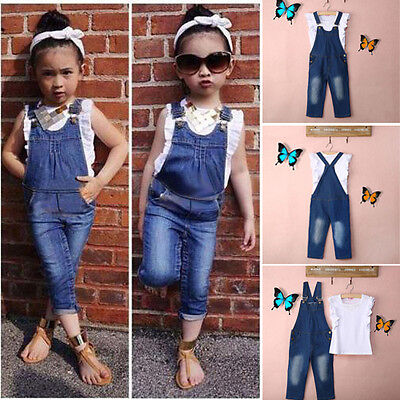 Vest+Jeans Baby Girls Summer Clothes Casual Dungarees Denim 2pcs Outfits Age 2-7