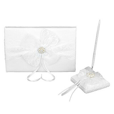 Lace Guestbook Pen Pen Holder for Wedding - White T6R4