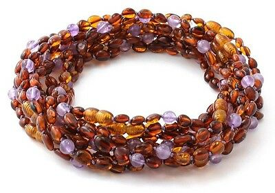 Amber Wholesale Lot - 10 Cognac Amber Necklaces with Amethyst, 32 cm, TipTopEco