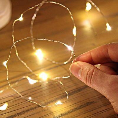 2/5/10M Button Battery Operated LED Copper Wire String Fairy Lights FG
