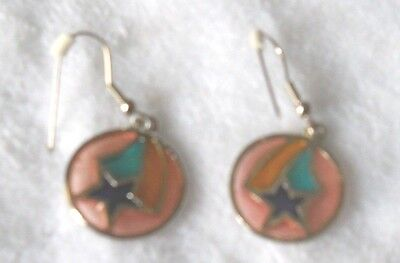 Vintage Stained Glass Style Star w/Rainbow Pierced Dangle Earrings