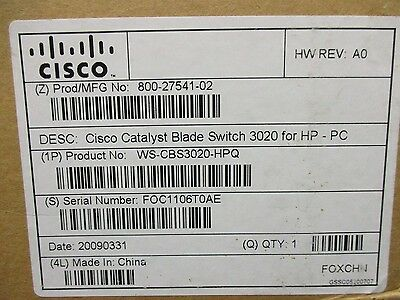 WS-CBS3020-HPQ V02 Cisco Catalyst Blade Switch 3020 1GBE  HP 432904-001