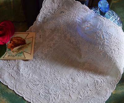 Exquisite antique madeira bridal wedding white hand embroidered handkerchief