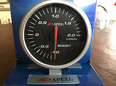 APEXI 60mm Boost Gauge! Brand New! With Mount! Black Face! Turbo Defi Greddy BAR