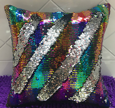 Sequin Mermaid Cushion Pillow Throw. Rainbow and Silver reversible. Fast Post